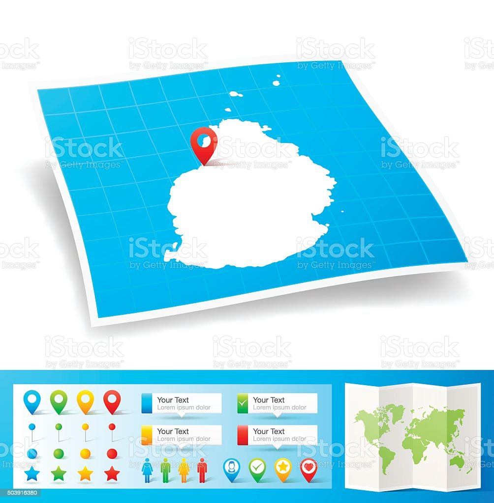 Mauritius Map With Location Pins Isolated On White ...