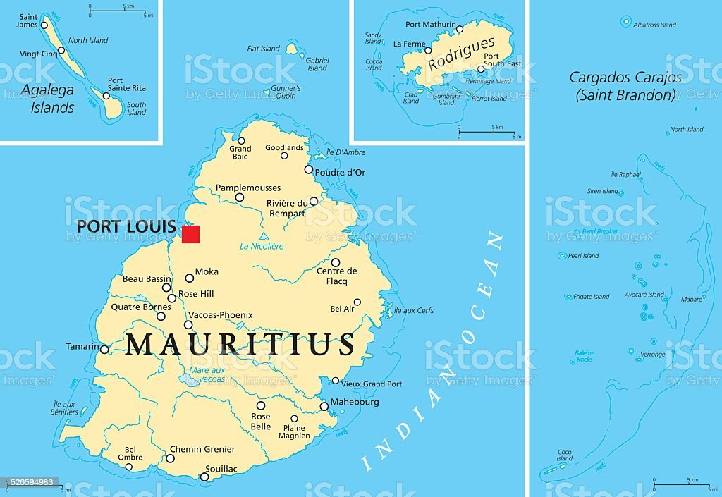 Mauritius Political Map Stock Vector Art More Images of Africa