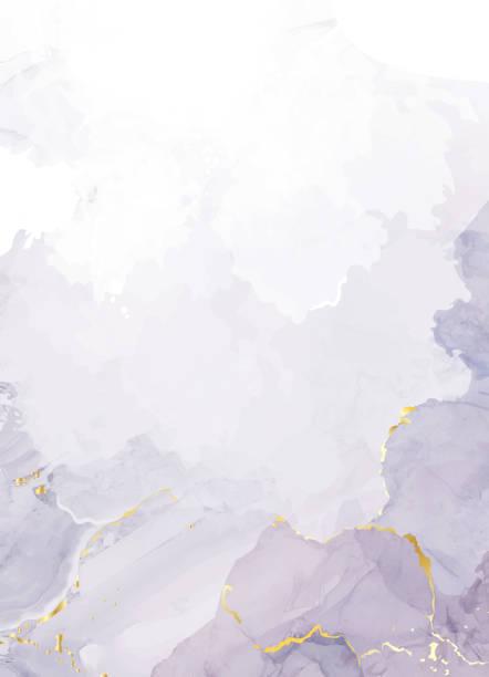 bildbanksillustrationer, clip art samt tecknat material och ikoner med mauve lila akvarell vätska målning vektor design kort. - purpur