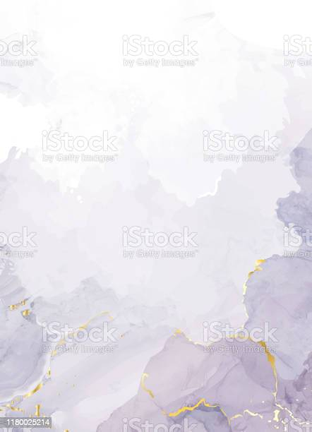 Mauve purple watercolor fluid painting vector design card. Mauve purple watercolor fluid painting vector design card. Dusty grey and golden geode frame. Winter wedding invitation. Snow or veil texture. Dye splash style. Alcohol ink. Isolated and editable Abstract stock vector