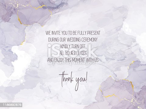 Mauve purple watercolor fluid painting vector design card. Dusty grey and golden geode frame. Winter wedding invitation. Snow or veil texture. Dye splash style. Alcohol ink. Isolated and editable