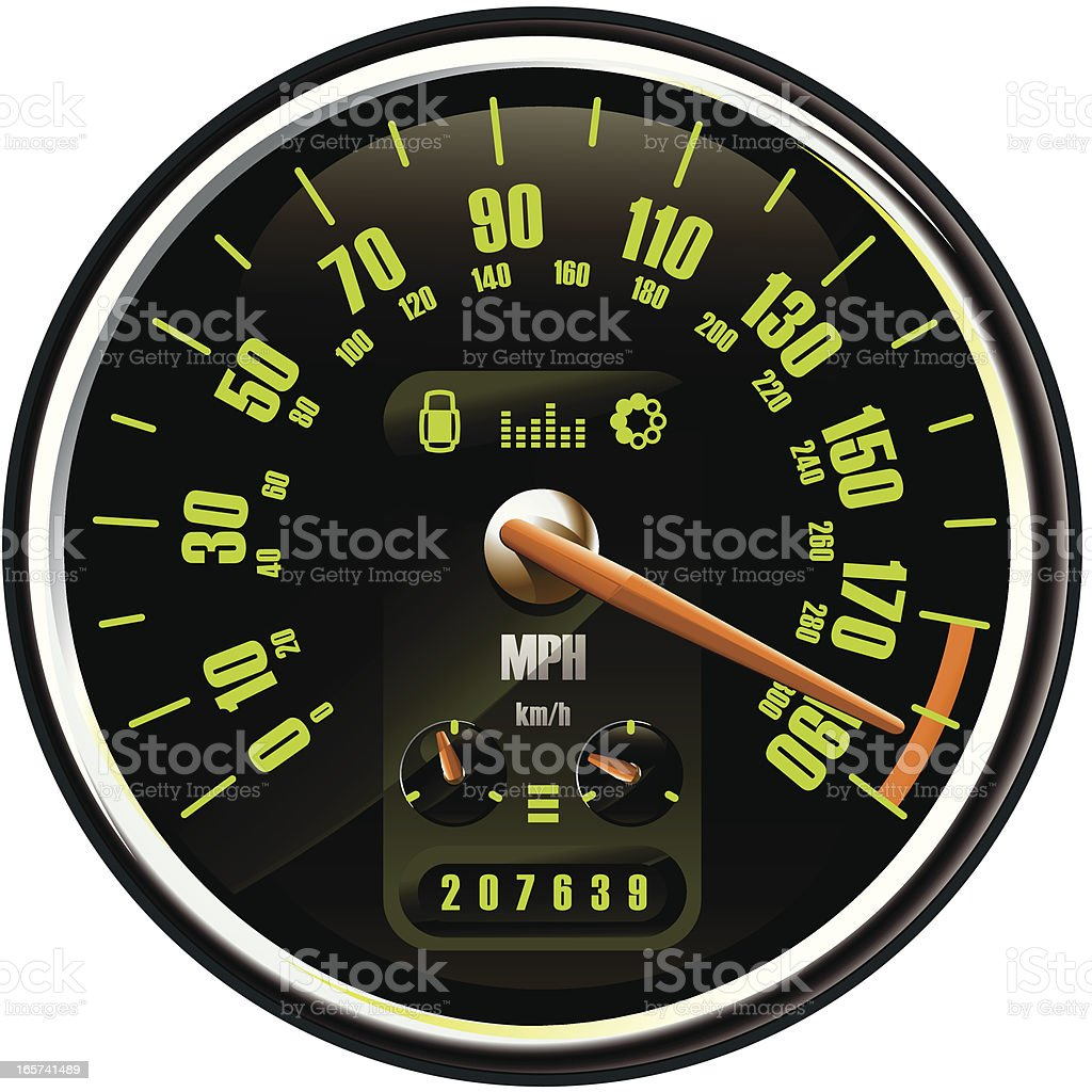 Maxed Out Speedometer royalty-free stock vector art