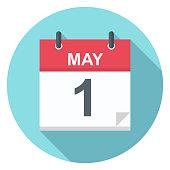 May 1 - Calendar Icon - Vector Illustration
