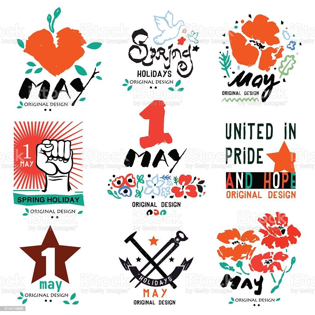 May 1 logo. Holiday of labor and spring, logo, a symbol. vector art illustration
