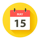 May 15. Round calendar Icon with long shadow in a Flat Design style. Daily calendar isolated on a yellow circle. Vector Illustration (EPS10, well layered and grouped). Easy to edit, manipulate, resize or colorize.