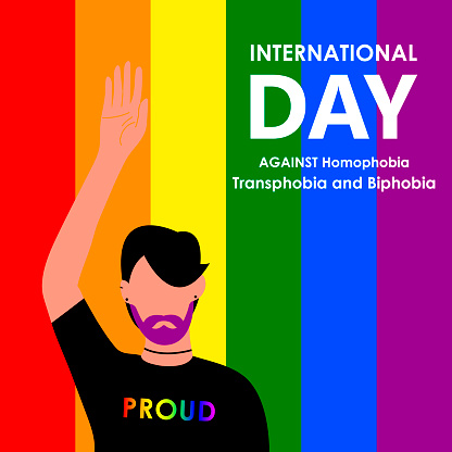 May 17 - The International Day Against Homophobia, Transphobia and Biphobia. A beautiful LGBT man with a purple beard wearing a proud T-shirt. Vector illustration in flat style. Eps 10.