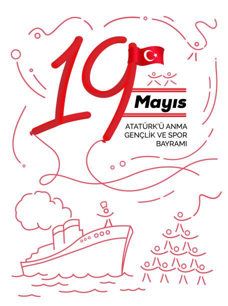 bildbanksillustrationer, clip art samt tecknat material och ikoner med 19 maj högtidlighållandet av atatürk, ungdom och sport dag i turkiet - maj