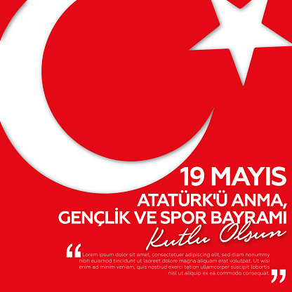 May 19, Commemoration of Ataturk, Youth and Sports Eid greeting card design.