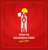 May 1 logo. On red background