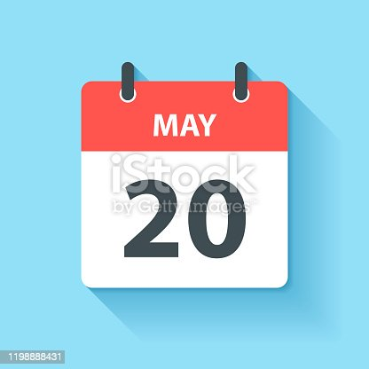 istock May 20 - Daily Calendar Icon in flat design style 1198888431