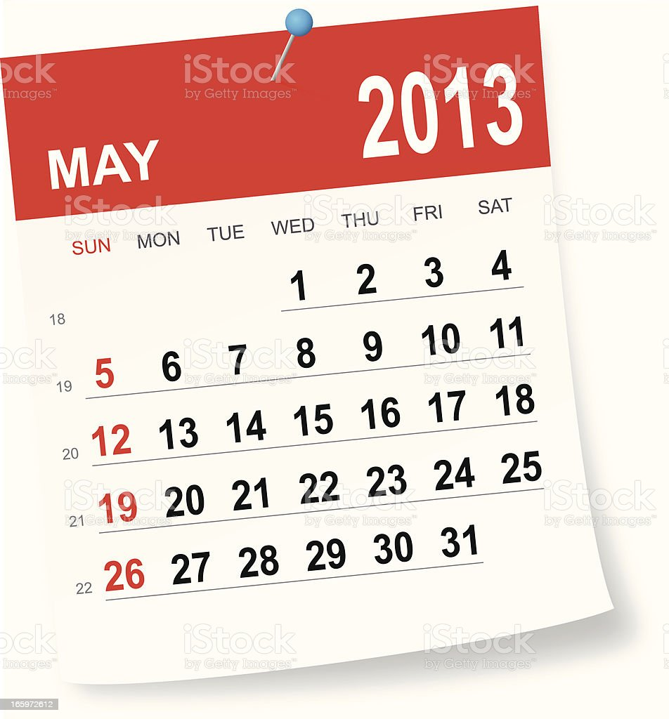 May 2013 calendar royalty-free stock vector art