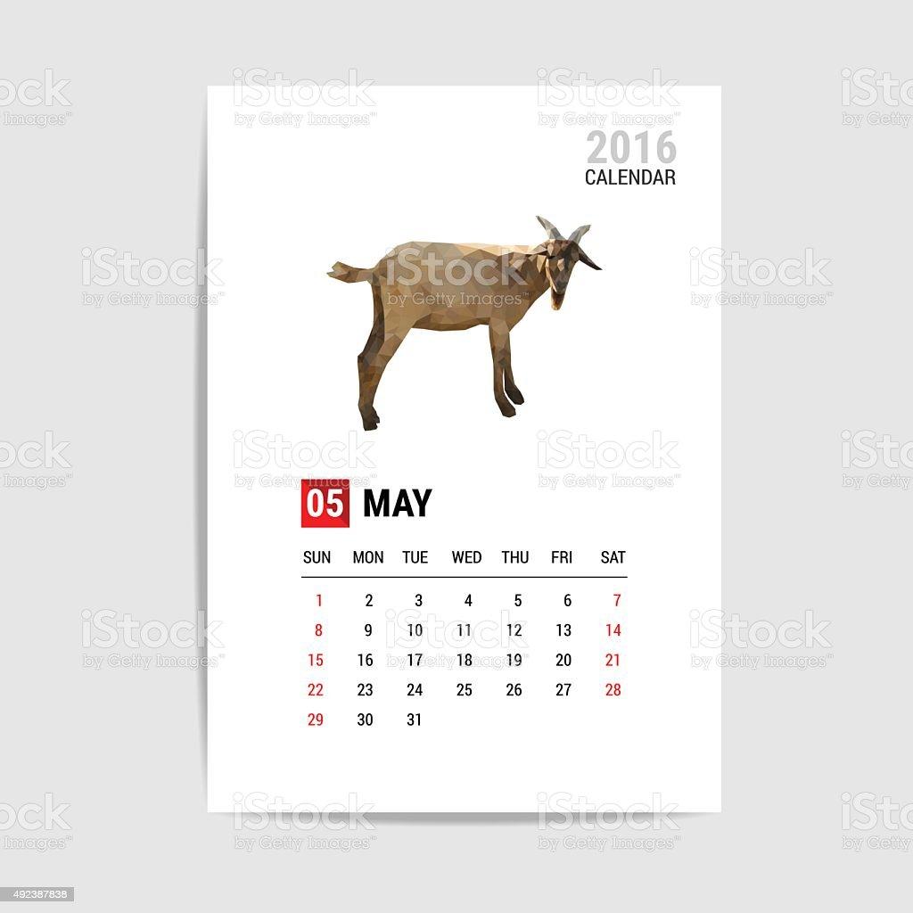 Puede 2016 calendario, cabra polygon vector - ilustración de arte vectorial