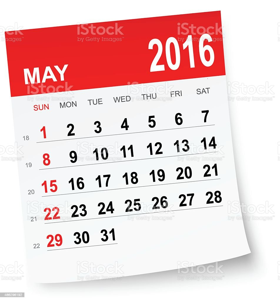 May 2016 calendar vector art illustration