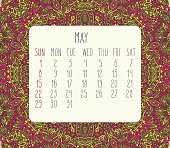 May 2016 vector monthly calendar over lacy doodle hand drawn background, week starting from Sunday.