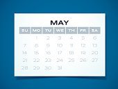 Simple May 2017 calendar design. EPS 10 file. Transparency effects used on highlight elements.