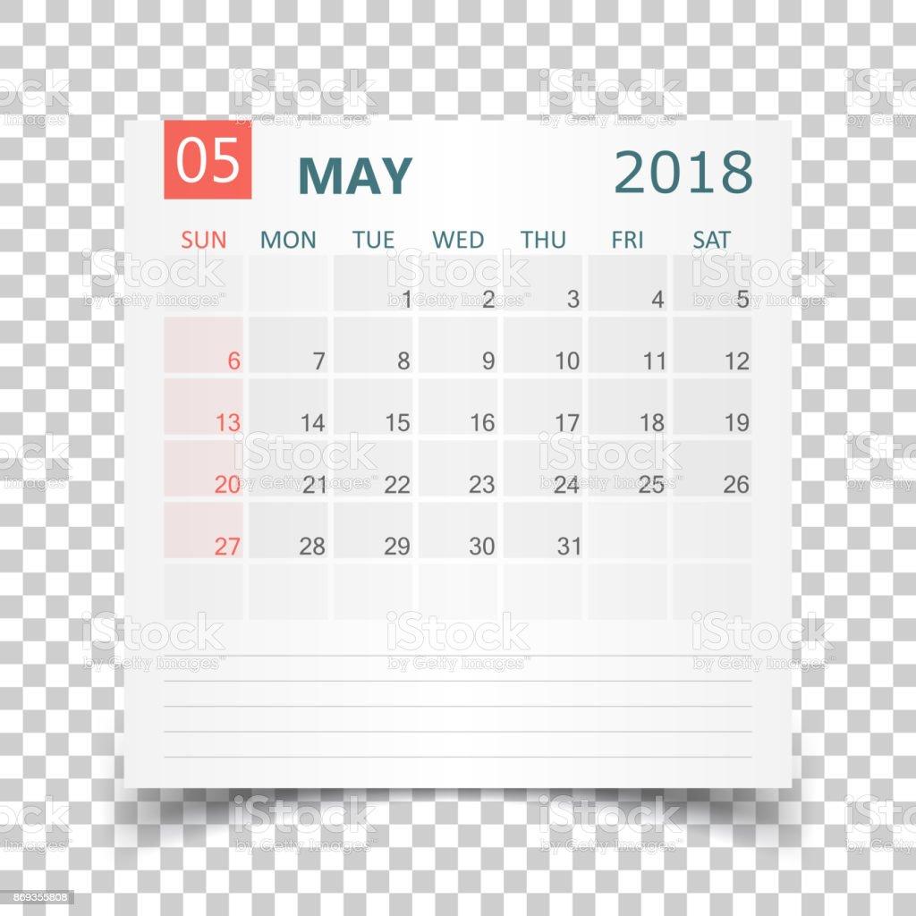 Calendario De Mayo De 2018 Plantilla De Diseño De La Etiqueta ...