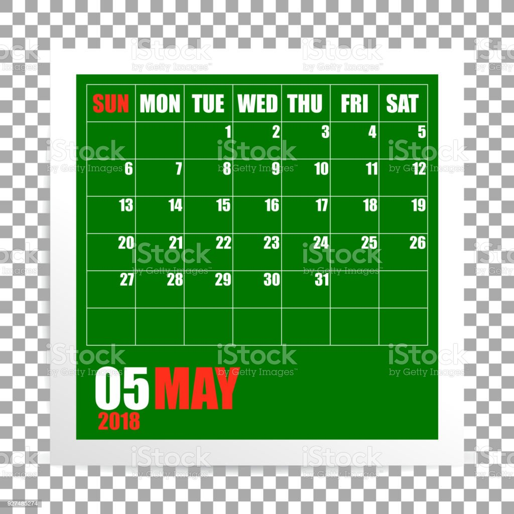 Mai 2018 Kalender Bilderrahmen Auf Transparenten Hintergrund Stock ...