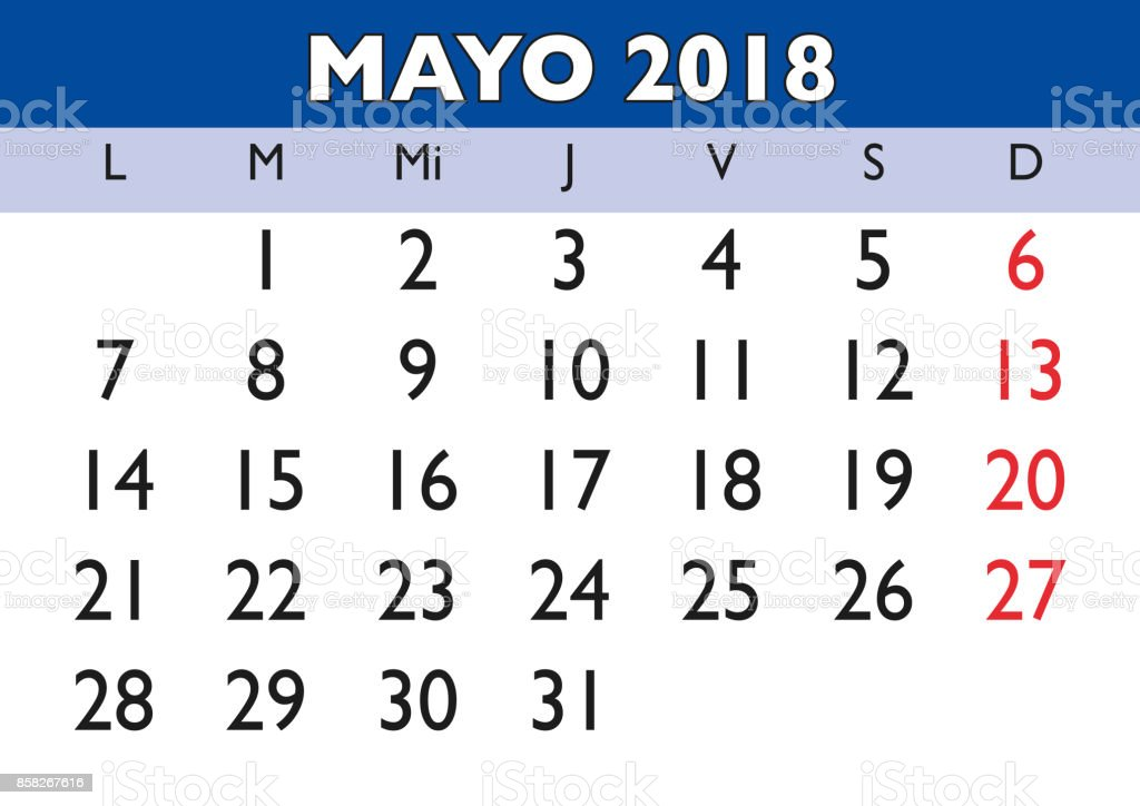 may 2018 wall calendar spanish royalty free may 2018 wall calendar spanish stock vector art