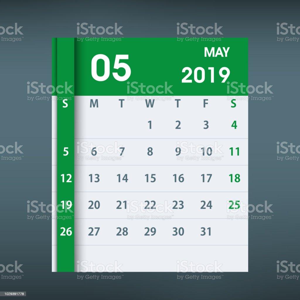 May 2019 Calendar Leaf Flat Design Stock Illustration