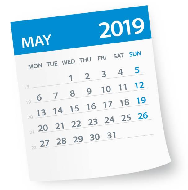bildbanksillustrationer, clip art samt tecknat material och ikoner med maj 2019 kalender leaf - vektorillustration - maj