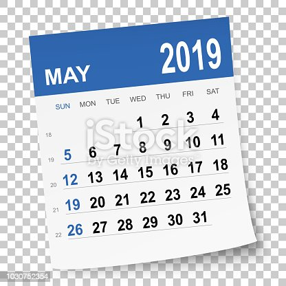 May 2019 calendar isolated on a blank background. Need another version, another month, another year... Check my portfolio. Vector Illustration (EPS10, well layered and grouped). Easy to edit, manipulate, resize or colorize. Please do not hesitate to contact me if you have any questions, or need to customise the illustration. http://www.istockphoto.com/portfolio/bgblue