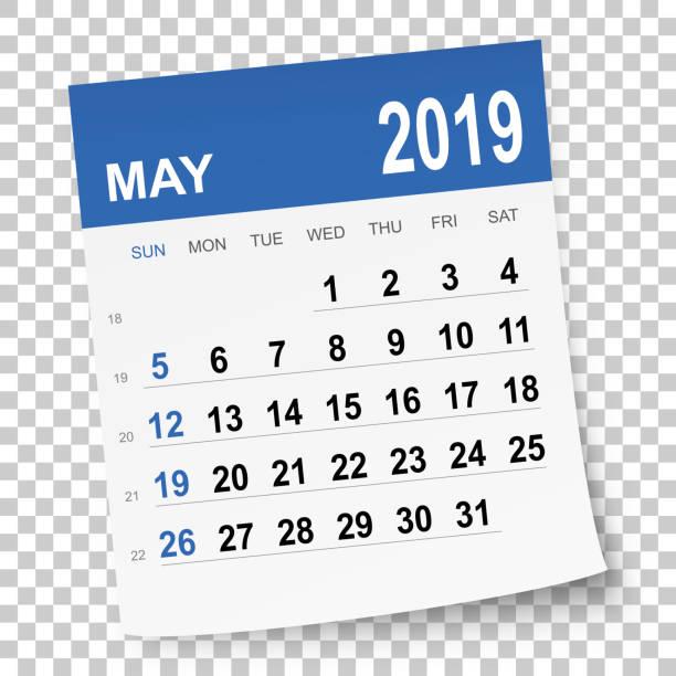 bildbanksillustrationer, clip art samt tecknat material och ikoner med maj 2019 kalender - maj