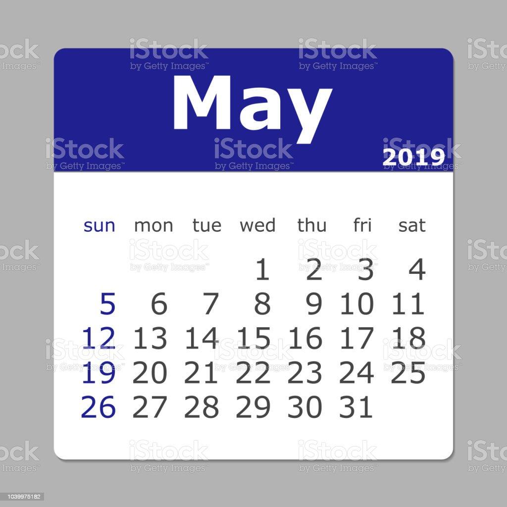 May 2019 Calendar Week Starts Sunday Stock Illustration