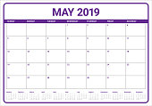 May 2019 desk calendar vector illustration, simple and clean design.