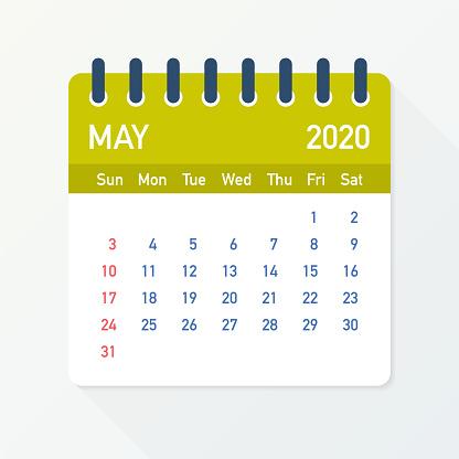May 2020 Calendar Leaf. Calendar 2020 in flat style. Vector illustration.