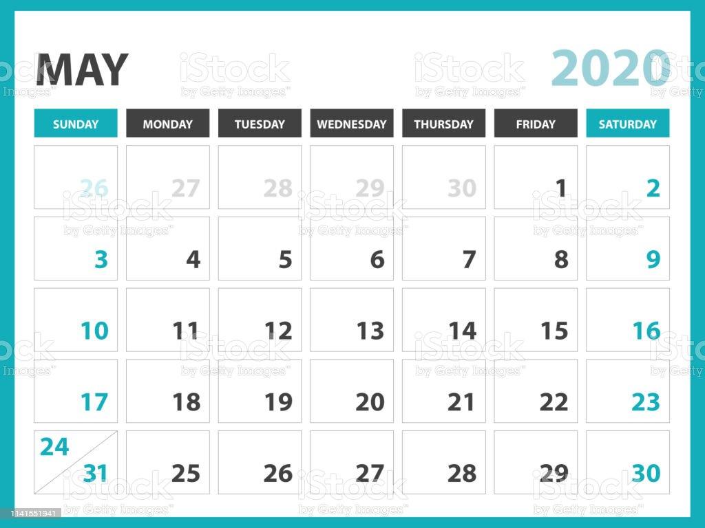 Layout Calendario 2020.May 2020 Calendar Template Desk Calendar Layout Size 8 X 6