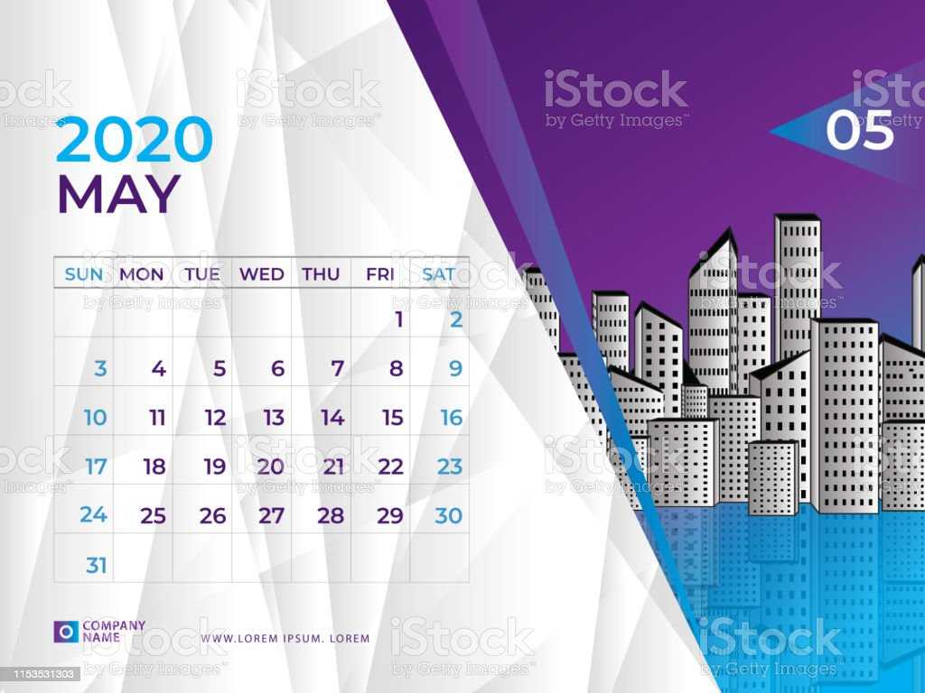 May 2020 Calendar Template Desk Calendar Layout Size 8 X 6
