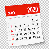 May 2020 calendar isolated on a blank background. Need another version, another month, another year... Check my portfolio. Vector Illustration (EPS10, well layered and grouped). Easy to edit, manipulate, resize or colorize.