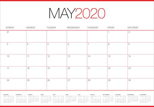 bildbanksillustrationer, clip art samt tecknat material och ikoner med maj 2020 skrivbord kalender vektor illustration - maj