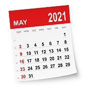 May 2021 calendar isolated on a white background. Need another version, another month, another year... Check my portfolio. Vector Illustration (EPS10, well layered and grouped). Easy to edit, manipulate, resize or colorize.