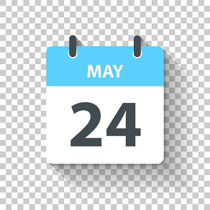 May 24. Calendar Icon with long shadow in a Flat Design style. Daily calendar isolated on blank background for your own design. Vector Illustration (EPS10, well layered and grouped). Easy to edit, manipulate, resize or colorize.