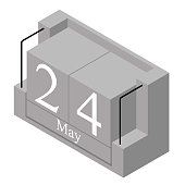 May 24th date on a single day calendar. Gray wood block calendar present date 24 and month May isolated on white background. Holiday. Season. Vector isometric illustration