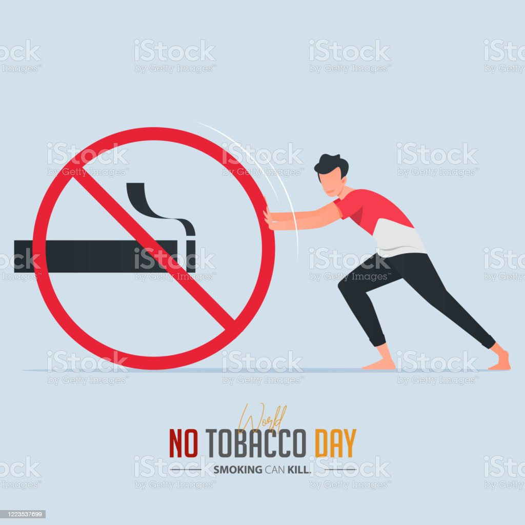 May 31st World No Tobacco Day Poster Design A Man Pushing Stop Smoking Sign Defines To A Man Is Fighting To Quit Smoking No Smoking Banner Cartoon Vector Stock Illustration Download