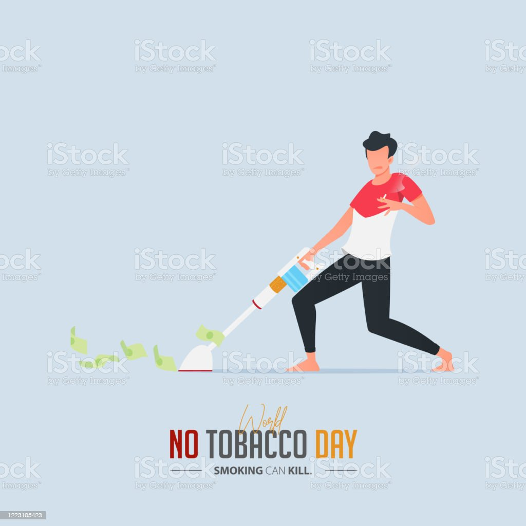 May 31st World No Tobacco Day Poster Design A Man Sucking Money With A Vacuum Cleaner Defines To The Dangers Of Smoking Stop Smoking Poster For Awareness Campaign No Smoking Banner Cartoon
