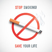 May 31st, World No Tobacco Day. Stop Smoking awareness banner. Realistic cigarette. Vector Illustration.