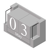 May 3rd date on a single day calendar. Gray wood block calendar present date 3 and month May isolated on white background. Holiday. Season. Vector isometric illustration