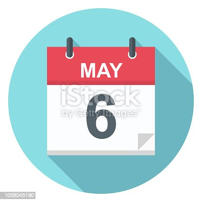 May 6 - Calendar Icon - Vector Illustration