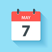 May 7. Calendar Icon with long shadow in a Flat Design style. Daily calendar isolated on blue background. Vector Illustration (EPS10, well layered and grouped). Easy to edit, manipulate, resize or colorize.