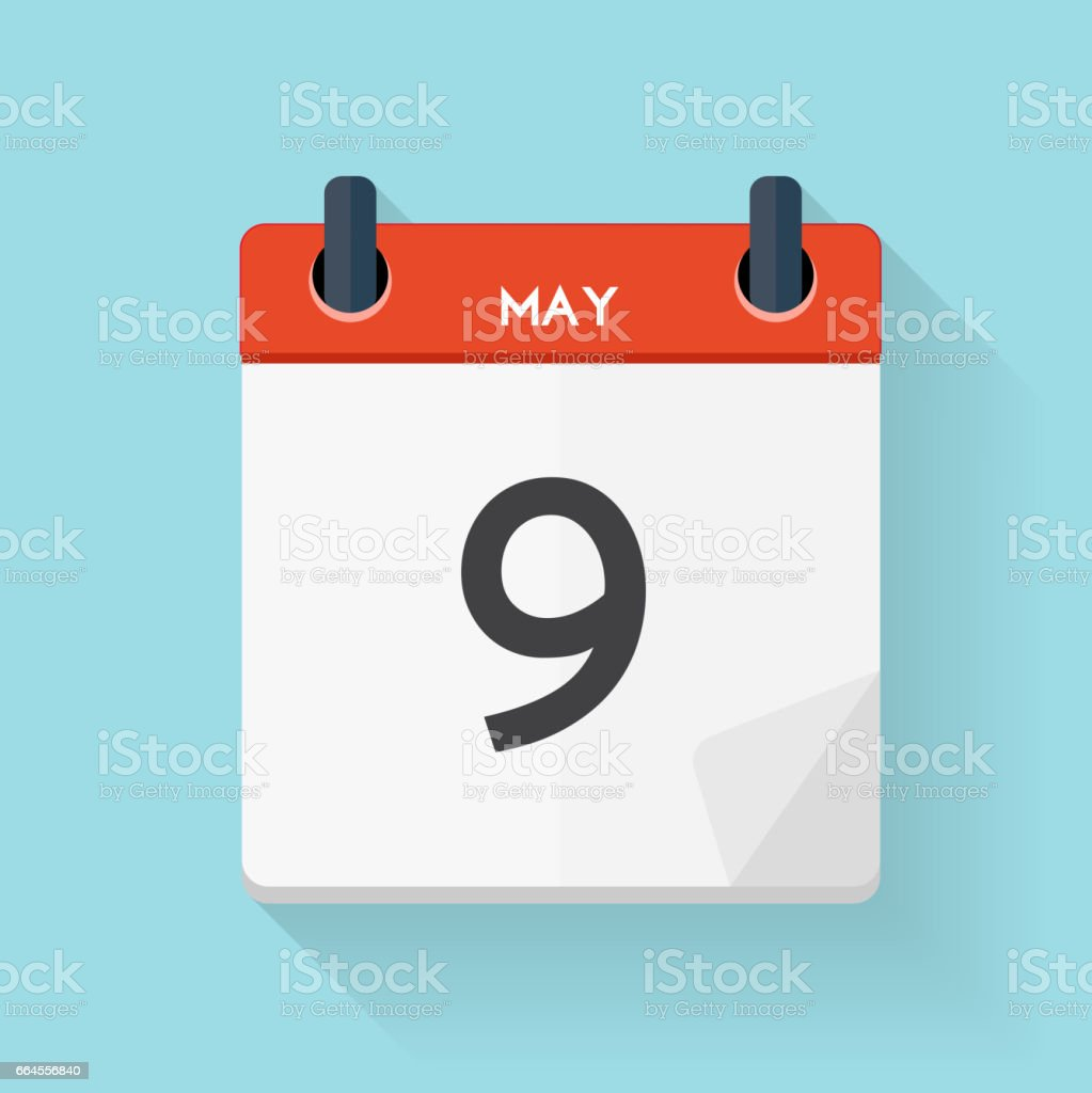 May 9 Calendar Flat Daily Icon. Vector Illustration Emblem. Elem vector art illustration