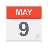 May 9- Calendar Icon - Vector Illustration