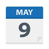 May 9 - Calendar Icon - Vector Illustration