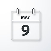 May 9. Calendar Icon with a thin black outline and a shadow, isolated on a blank background. Vector Illustration (EPS10, well layered and grouped). Easy to edit, manipulate, resize or colorize.