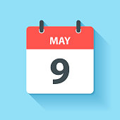 May 9. Calendar Icon with long shadow in a Flat Design style. Daily calendar isolated on blue background. Vector Illustration (EPS10, well layered and grouped). Easy to edit, manipulate, resize or colorize.