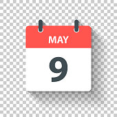May 9. Calendar Icon with long shadow in a Flat Design style. Daily calendar isolated on blank background for your own design. Vector Illustration (EPS10, well layered and grouped). Easy to edit, manipulate, resize or colorize.