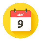 May 9. Round calendar Icon with long shadow in a Flat Design style. Daily calendar isolated on a yellow circle. Vector Illustration (EPS10, well layered and grouped). Easy to edit, manipulate, resize or colorize.