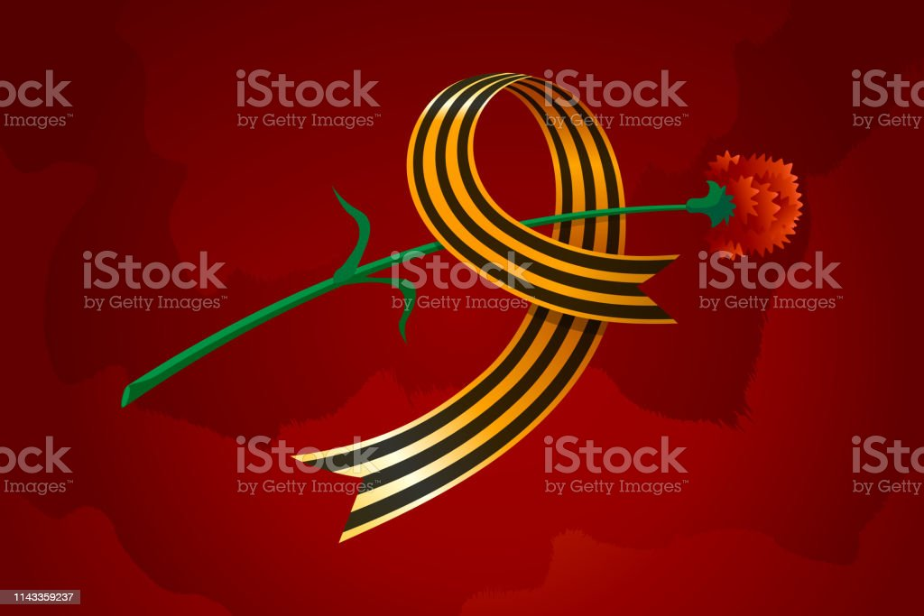 May 9 Russian holiday Great Victory day. Saint George ribbon form nine and carnation. Symbol of victory Soviet Union over Nazi Germany in World War II. Vector illustration gift card royalty-free may 9 russian holiday great victory day saint george ribbon form nine and carnation symbol of victory soviet union over nazi germany in world war ii vector illustration gift card stock illustration - download image now